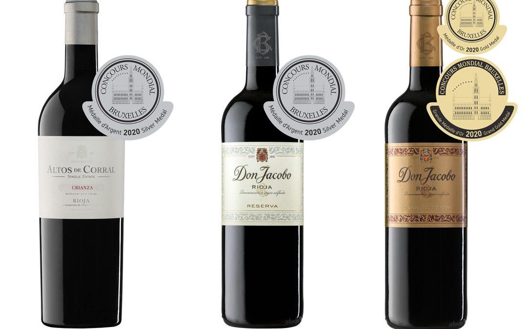 Medallas de Oro, Plata y Trofeo especial Sylvain para tres de nuestros vinos en el 27º Concurso Mundial de Bruselas