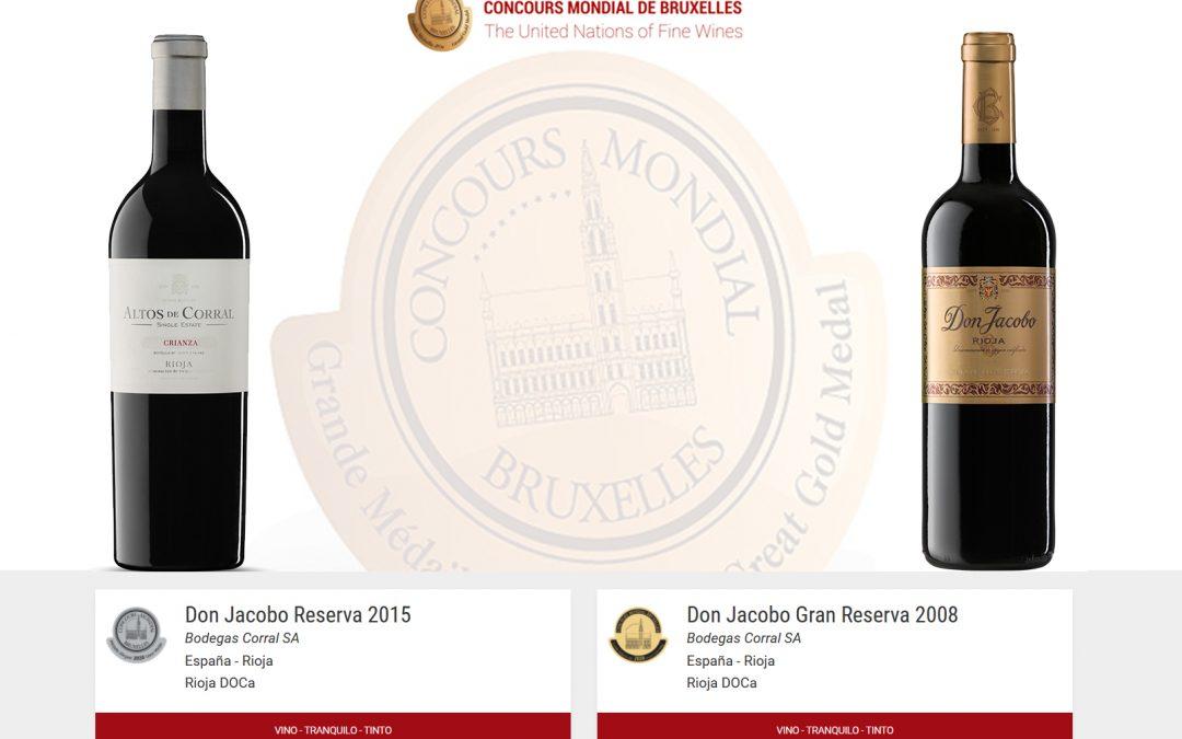 Medallas de Oro, Plata y Trofeo especial Sylvain para dos de nuestros vinos en el 27º Concurso Mundial de Bruselas